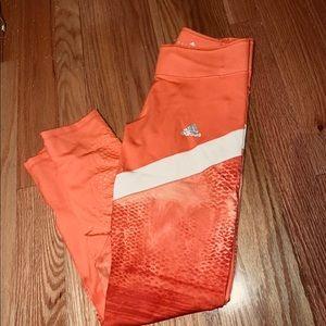 Adidas reptile athletic leggings in orange /white